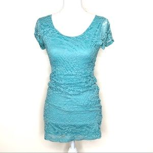 Tobi blue lace bodycon mini dress large EUC